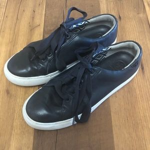 Tory Burch Womens Leather Sneakers Shoes Lace up